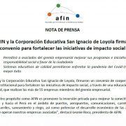 AFIN y la Corporación Educativa San Ignacio de Loyola firman convenio para fortalecer las iniciativas de impacto social