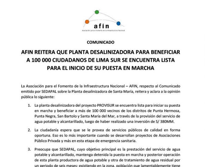 AFIN reitera que planta desalinizadora para beneficiar a 100 000 ciudadanos de Lima sur se encuentra lista para el inicio de su puesta en marcha