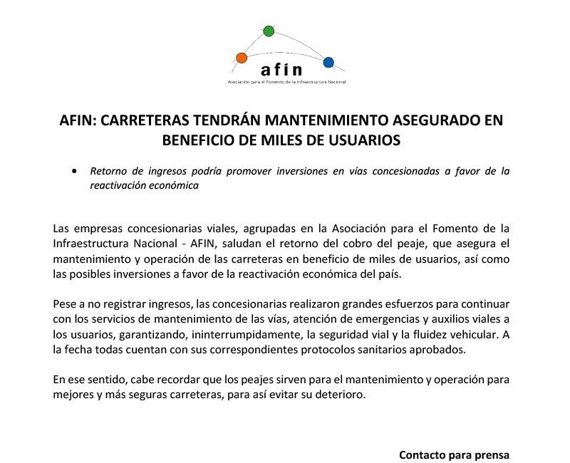 AFIN: Carreteras tendrán mantenimiento asegurado en beneficio de miles de usuarios