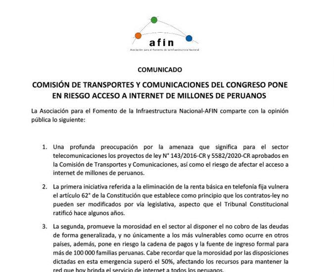 Comisión de Transportes y Comunicaciones del Congreso pone en riesgo acceso a internet de millones de peruanos