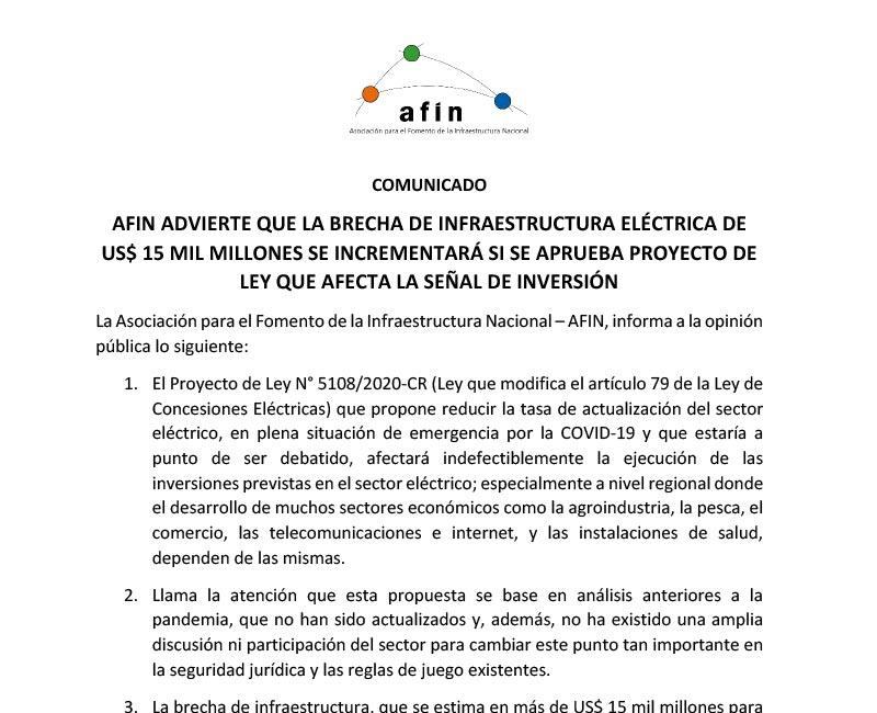 AFIN advierte que la brecha de infraestructura eléctrica de US$ 15 mil millones se incrementará si se aprueba proyecto de ley que afecta la señal de inversión