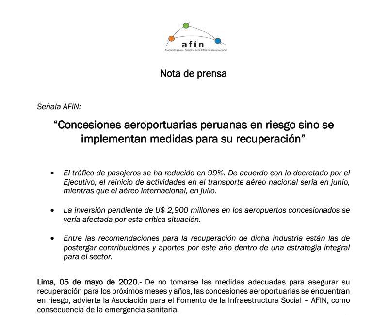 Concesiones aeroportuarias peruanas en riesgo sino se implementan medidas para su recuperación