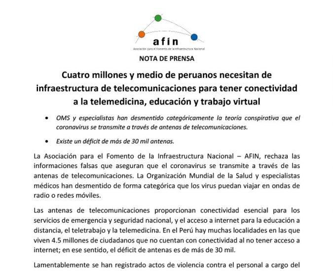 Cuatro millones y medio de peruanos necesitan de infraestructura de telecomunicaciones para tener conectividad a la telemedicina, educación y trabajo virtual