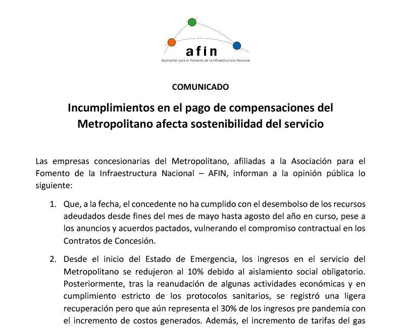 Incumplimientos en el pago de compensaciones del Metropolitano afecta sostenibilidad del servicio