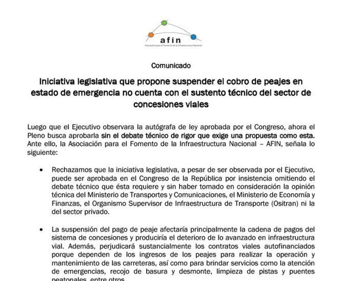 Iniciativa legislativa que propone suspender el cobro de peajes en estado de emergencia no cuenta con el sustento técnico del sector de concesiones viales