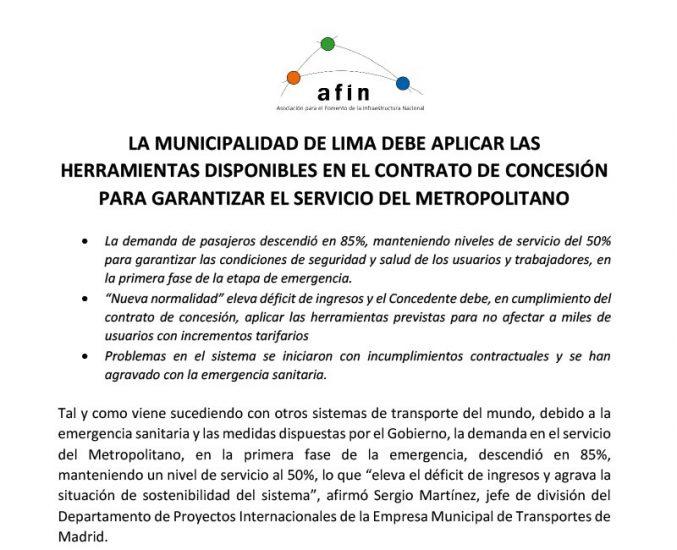 La Municipalidad de Lima debe aplicar las herramientas disponibles en el contrato de concesión para garantizar el servicio del Metropolitano