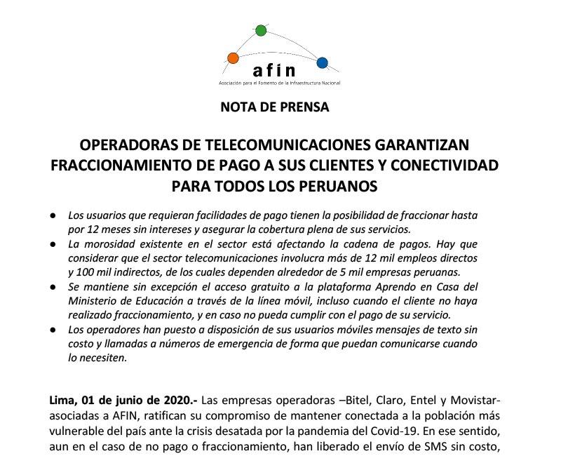 Operadoras de telecomunicaciones garantizan fraccionamiento de pago a sus clientes y conectividad para todos los peruanos