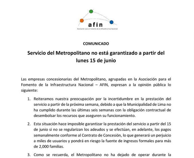 Servicio del Metropolitano no está garantizado a partir del lunes 15 de junio