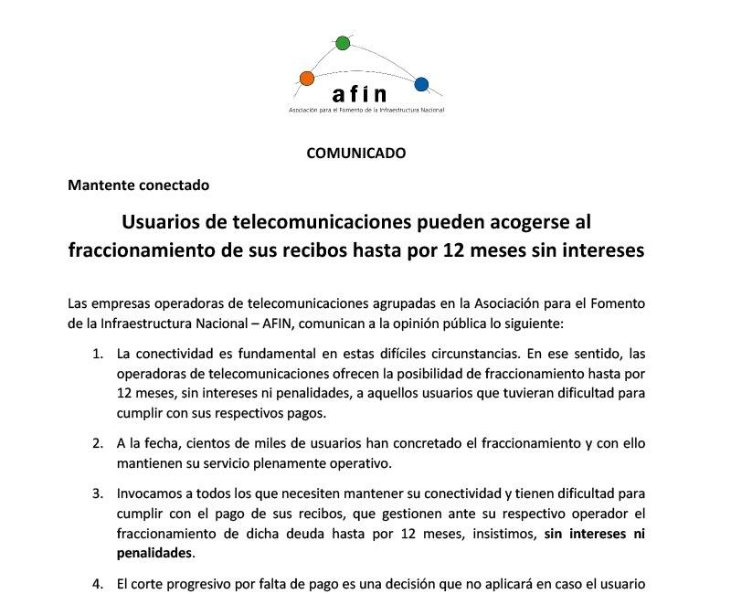 Usuarios de telecomunicaciones pueden acogerse al fraccionamiento de sus recibos hasta por 12 meses sin intereses