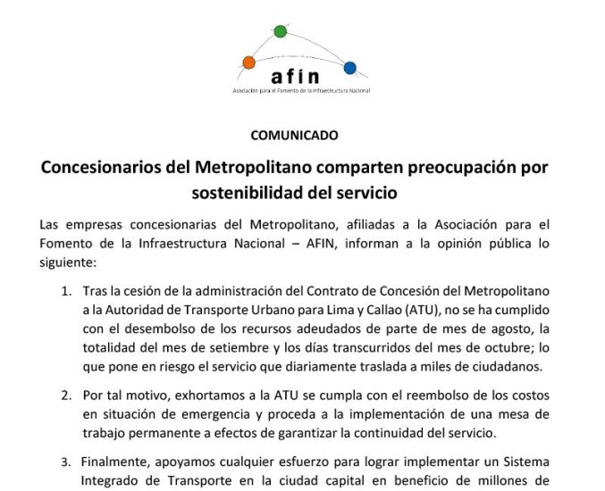 Concesionarios del Metropolitano comparten preocupación por sostenibilidad del servicio