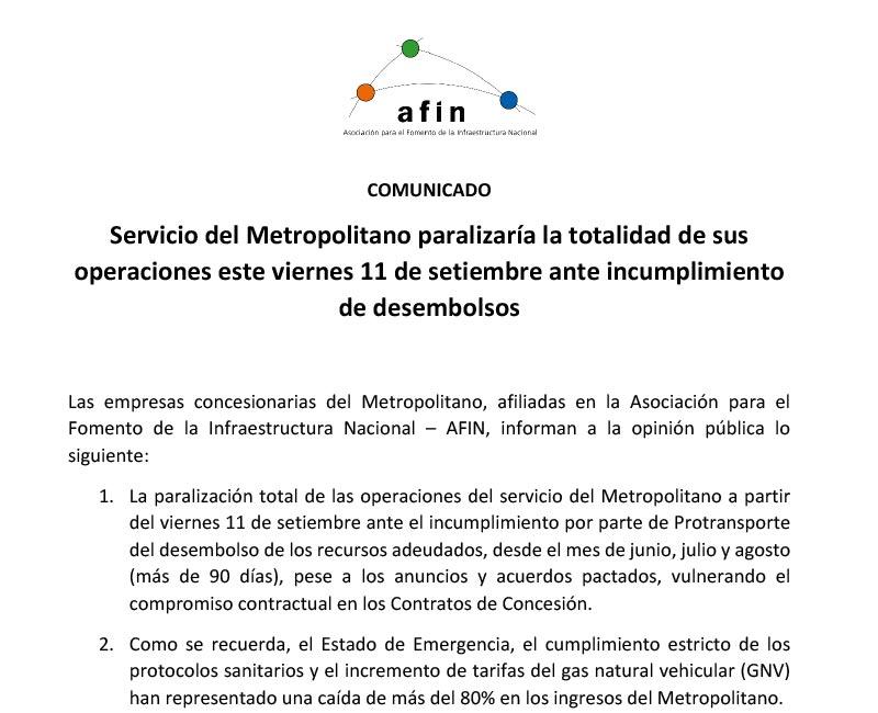 Servicio del Metropolitano paralizaría la totalidad de sus operaciones este viernes 11 de setiembre ante incumplimiento de desembolsos