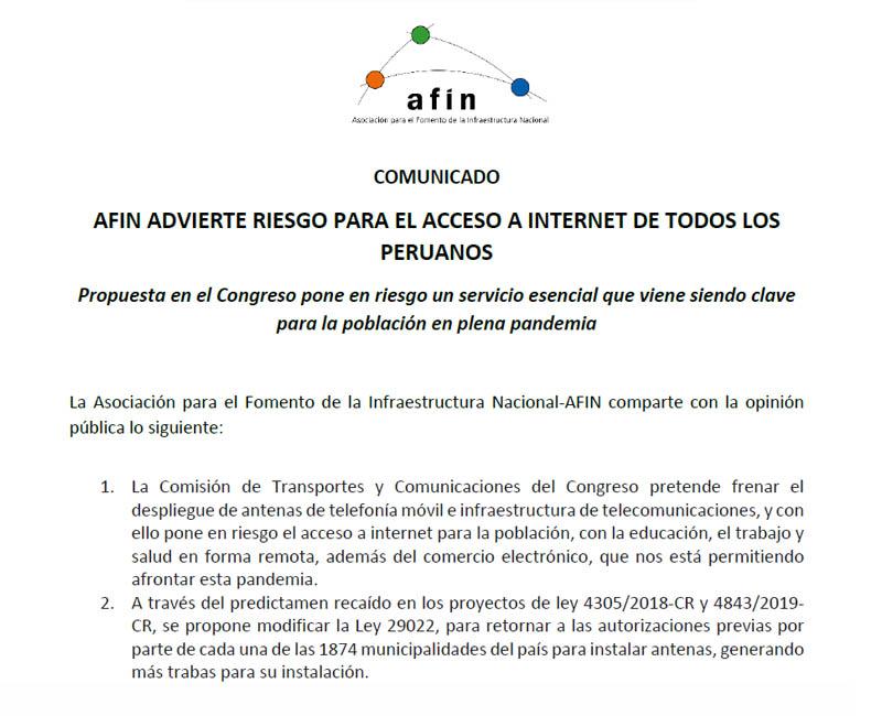 AFIN advierte riesgo para el acceso a internet de todos los peruanos