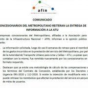 Concesionarios del Metropolitano reiteran la entrega de información a la ATU