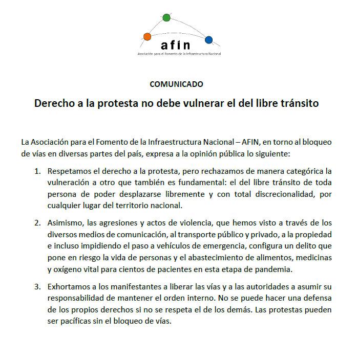Derecho a la protesta no debe vulnerar el del libre tránsito