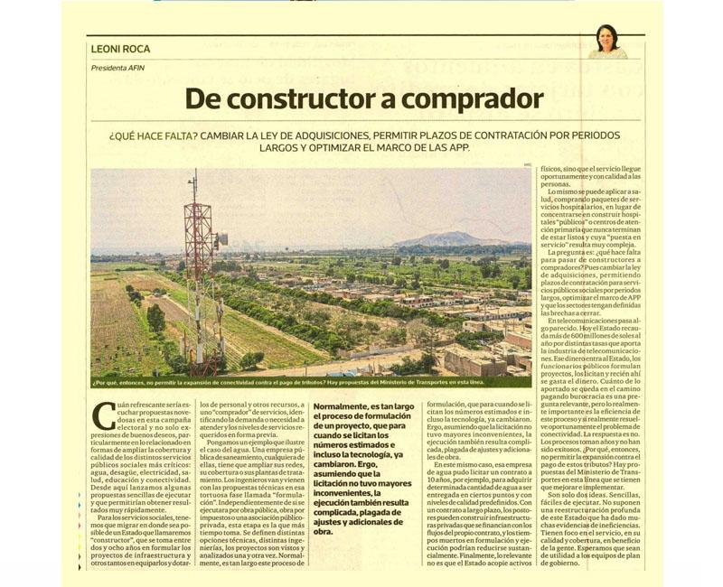 """""""De constructor a comprador"""" por Leonie Roca, presidenta de AFIN"""
