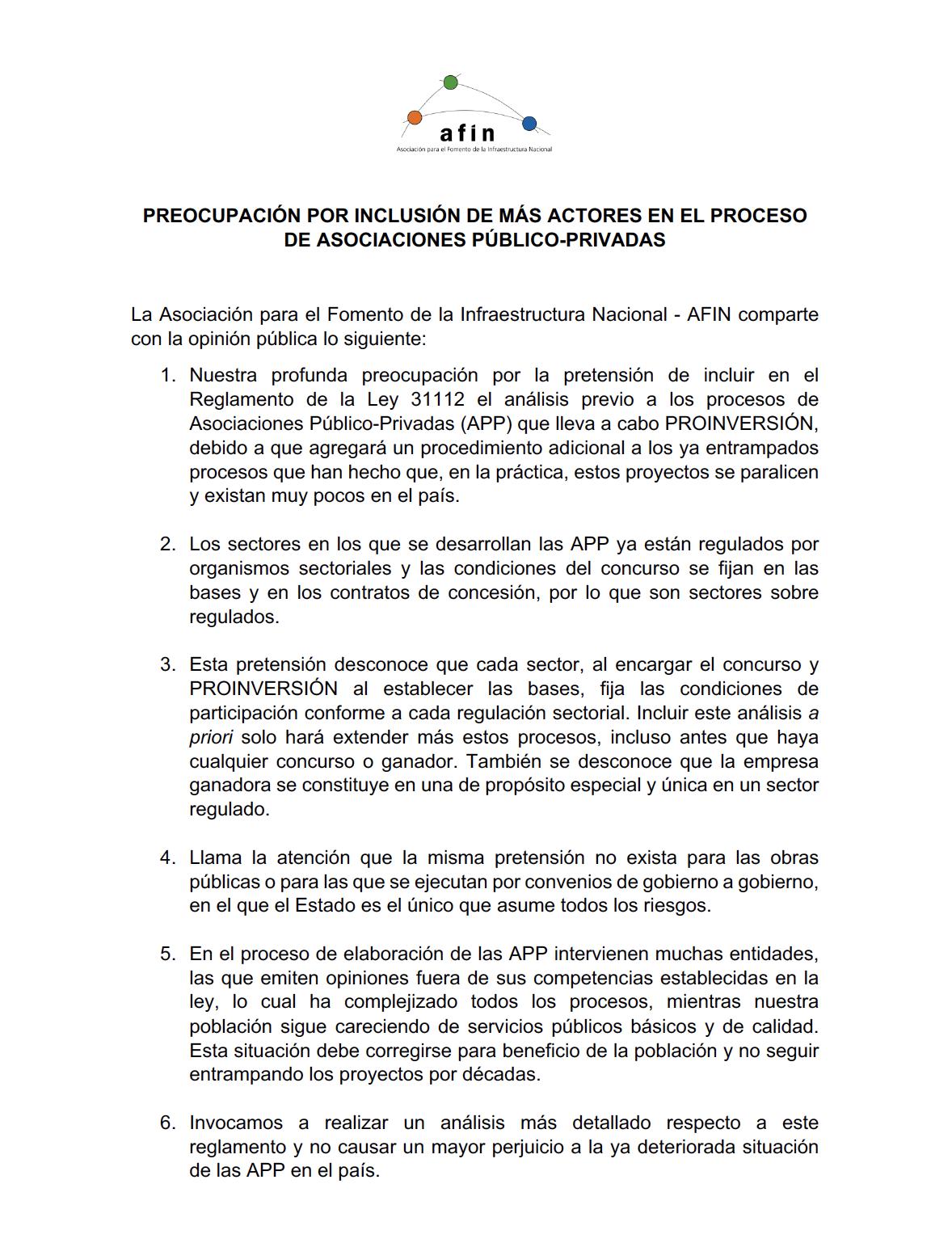 Preocupación por inclusión de más actores en el proceso de Asociaciones Público-Privadas APP