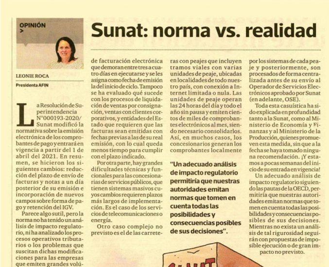 """""""Sunat: norma vs realidad"""" por Leonie Roca, presidenta de AFIN"""